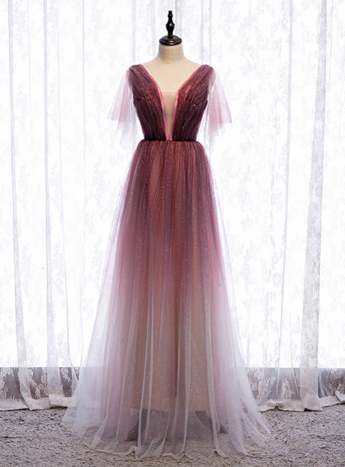A-Line Burgundy Tulle Deep V-neck Pleats Prom Dress 2020