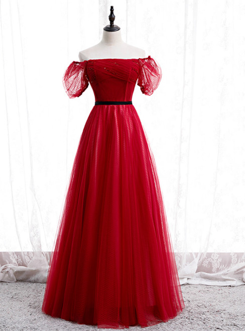A-Line Burgundy Tulle Puff Sleeve Off the Shoulder Prom Dress