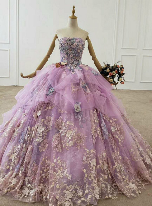 Purple Ball Gown Appliques Tulle 3D Flower Strapless Wedding Dress 2020
