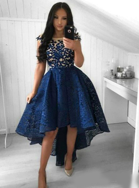 Navy Blue Lace Hi Lo Short Party Prom Gowns Homecoming Dresses 2020