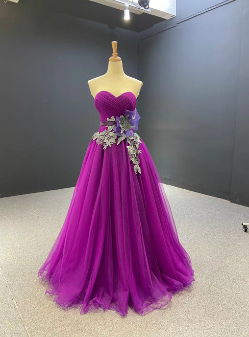 A-Line Purple Tulle Sweetheart Pleats Prom Dress 2020