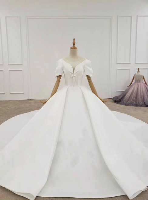 White Ball Gown Satin Puff Sleeve Wedding Dress With Long Train 2020