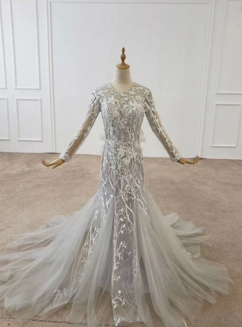 Gray Mermaid Tulle Lace Appliques Long Sleeve Prom Dress 2020