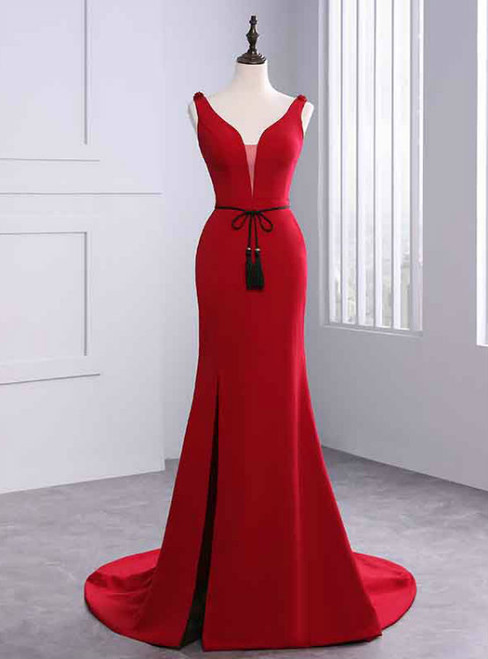 Sexy Mermaid Red Satin V-neck Backless Prom Dress With Sash