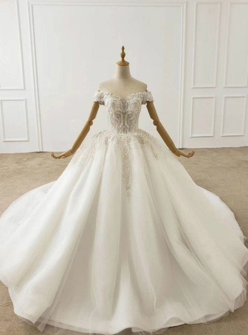 White Ball Gown Tulle Off the Shoulder Beading Wedding Dress 2020