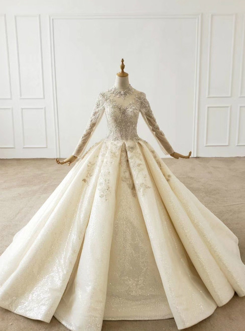 Champagne Ball  Gown Tulle High Neck Long Sleeve Beading Wedding Dress 2020