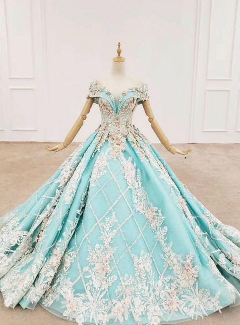 Blue Ball Gown Off the Shoulder Appliques Beading Prom Dress 2020