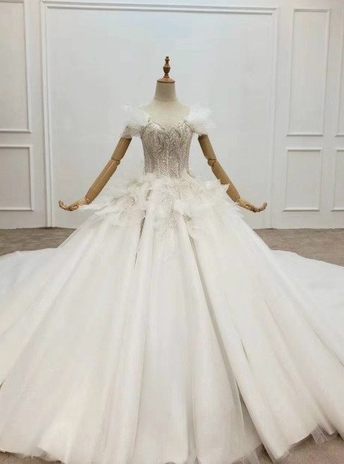 Ivory White Tulle Off the Shoulder Beading Sequins Wedding Dress