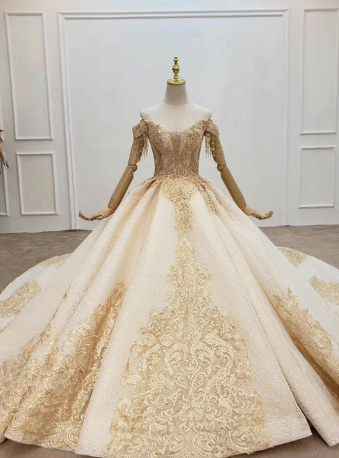 Champagne Ball Gown Tulle Off the Shoulder Lace Appliques Wedding Dress 2020