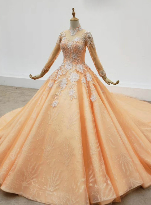 Orange Ball Gown Tulle High Neck Long Sleeve Sequins Appliques Wedding Dress 2020