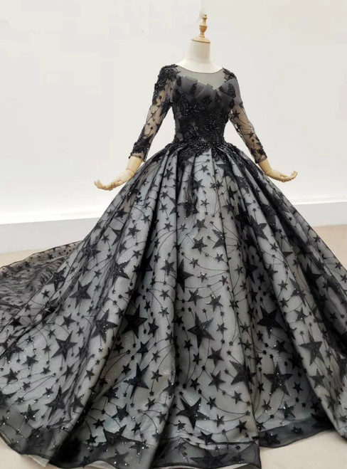 Black Ball Gown Tulle Star Sequins Long Sleeve Wedding Dress