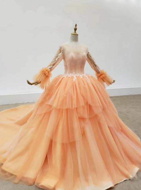 Orange Tulle Long Sleeve Lace Appliques Wedding Dress 2020