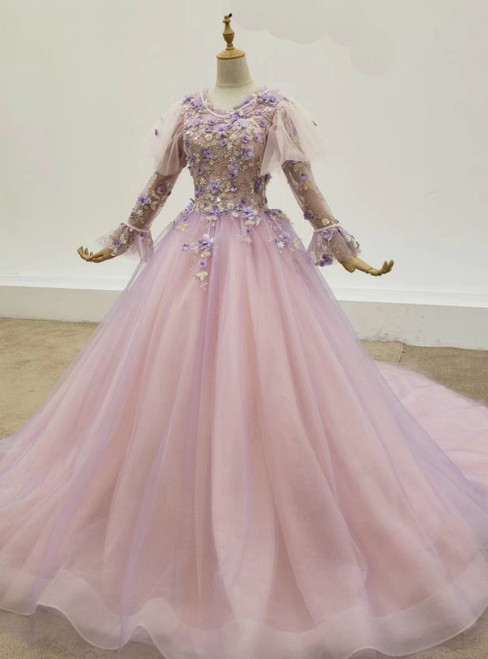 Purple Ball Gown Tulle 3D Flower Long Sleeve Wedding Dress 2020