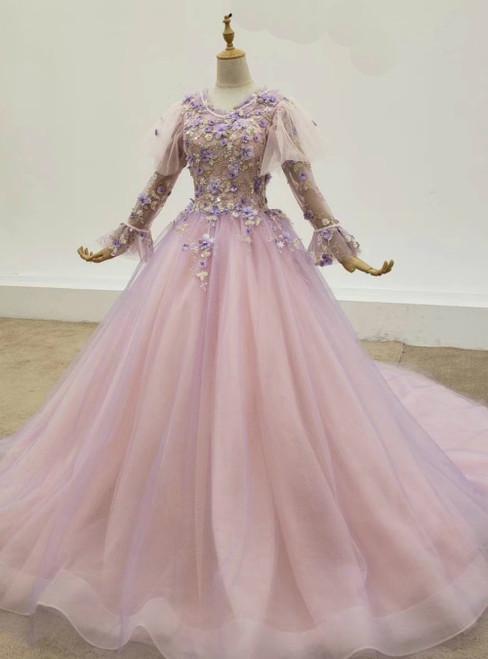 Purple Ball Gown Tulle 3D Flower Long Sleeve Wedding Dress 2020
