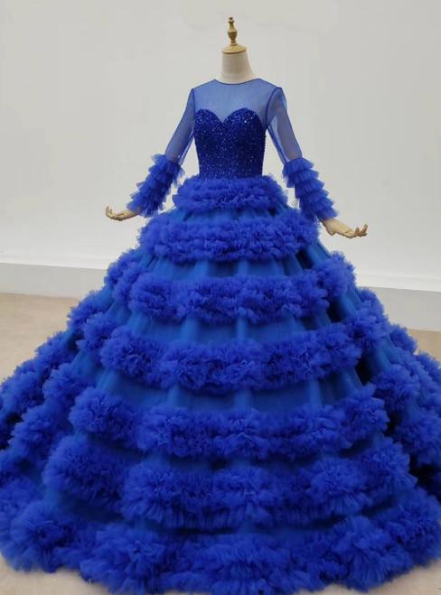 Roayl Blue Ball Gown Tulle Long Sleeve Beading Prom Dress 2020