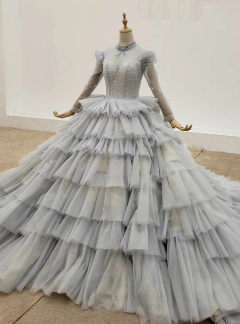 Gray Ball Gown Tulle Long Sleeve High Neck Beading Wedding Dress 2020