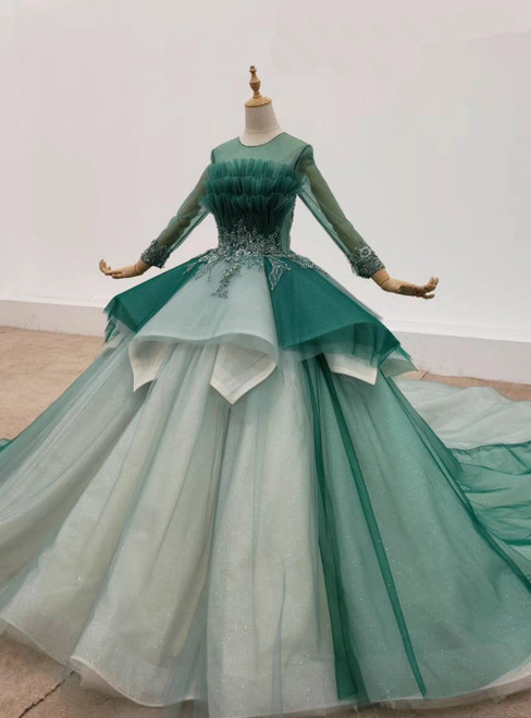 Green Ball Gown Tulle Long Sleeve Beading Wedding Dress 2020