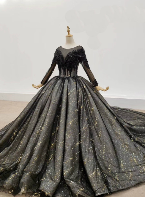 Shop Online Black Ball Gown Tulle Sequins Long Sleeve Appliques Beading Wedding Dress 2020 2