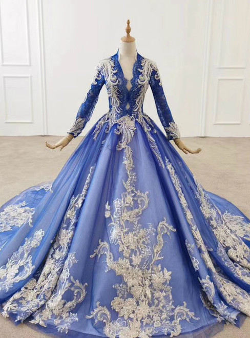 Take Center Stage In Royal Blue Tulle Lace Appliques V-neck Long Sleeve Wedding Dress 2020