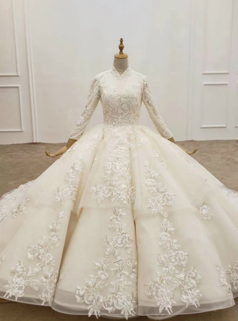 Champagne Ball Gown Tulle Appliques Long Sleeve Wedding Dress 2020