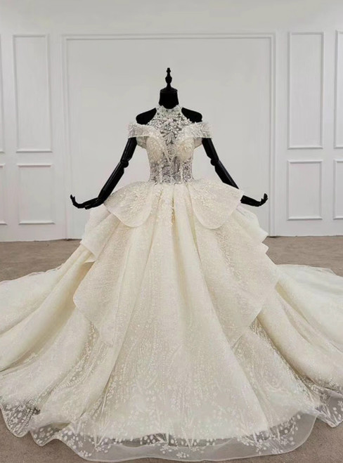 Champagne Ball Gown Tulle Halter Appliques Beading Sequins Wedding Dress 2020