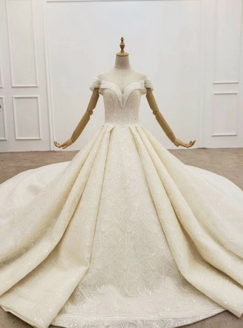 2020 Great Choice Champagne Ball Gown Sequins Cap Sleeve Beading Wedding Dress 2020