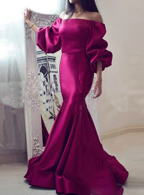 Shop Sexy Mermaid Satin Off the Shoulder Puff Sleeve Prom Dress 2020