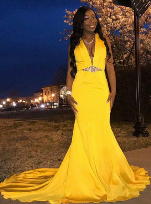 It's Prom Season Yellow Mermaid Satin V-neck Crystal Prom Dress 2020