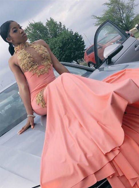Hottest Items Pink Mermaid Halter Appliques Sleeveless Backless Prom Dress