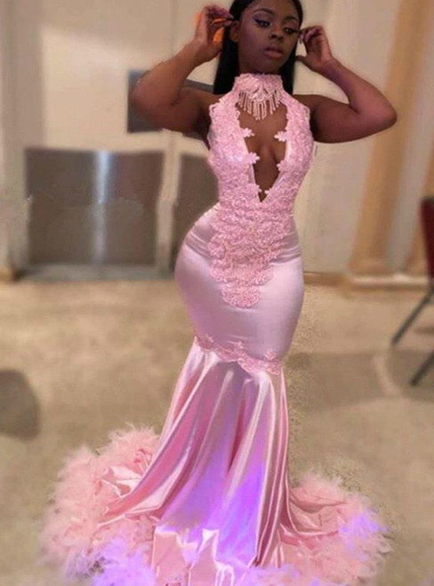 Shop This Selection Of Pink Mermaid Satin Halter Appliques Beading Prom Dress