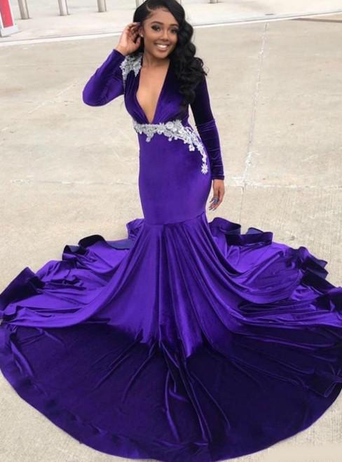 We Carry Purple Mermaid Deep V-neck Long Sleeve Appliques Prom Dress 2020