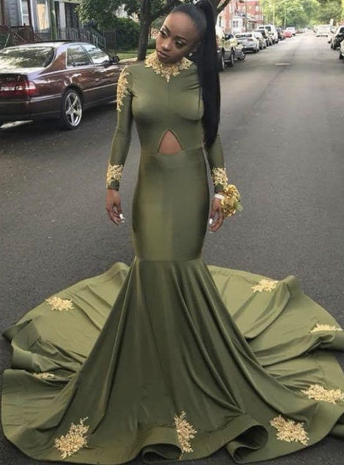 Instead, Opt For a Stylish Dark Green Mermaid Satin Long Sleeve High Neck Prom Dress 2020