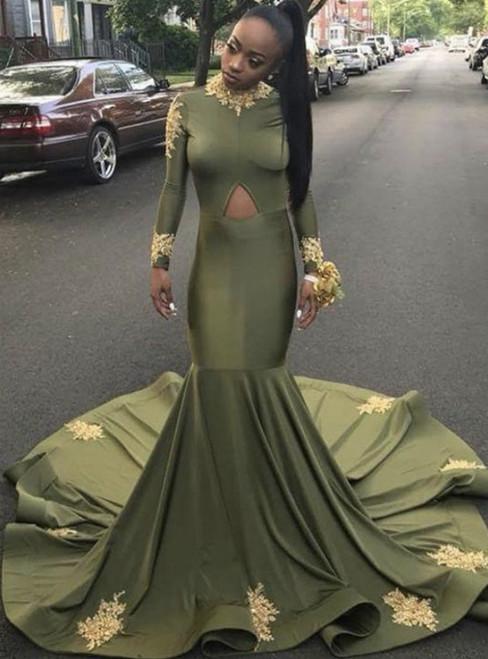Instead, Opt For a Stylish Dark Green Mermaid Satin Long Sleeve High Neck Prom Dress 2020