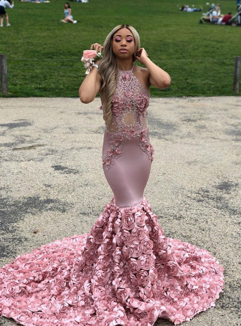 Buy Pink Mermaid Halter Satin Appliques Beading Prom Dress 2020
