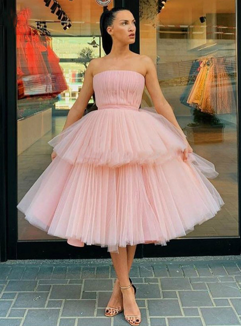 The Best Discount Pink Tulle Strapless Tiered Ball Gown Short Prom Dress