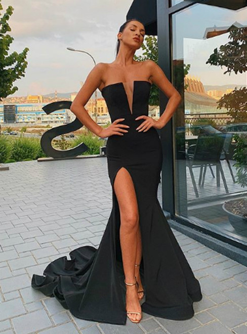 Shop For Cute Black Mermaid Satin Strapless Prom Dress With Side Split 2020