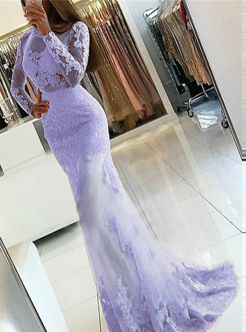 Enjoy The Purple Mermaid Tulle Lace Appliques Backless Prom Dress 2020