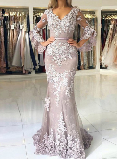 We Specialize In Custom Made Purple Mermaid Tulle Appliques V-neck Prom Dress