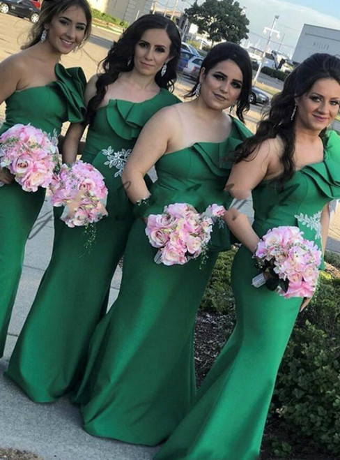 Brand New Green Mermaid Satin One Shoulder Bridesmaid Dresses 2020