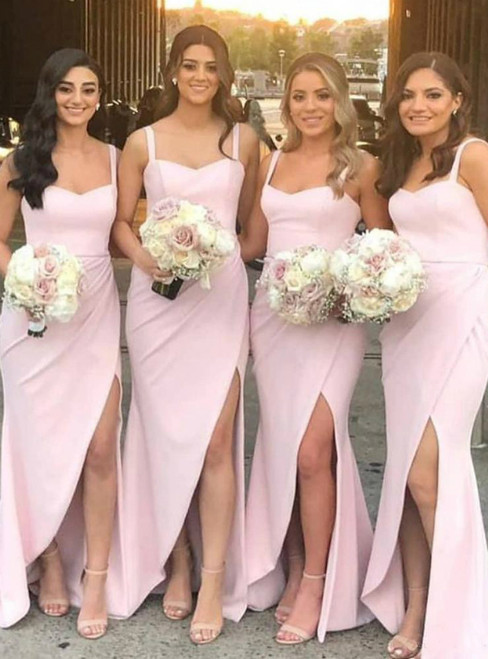 Find The Perfect Pink Satin Spaghetti Straps Front Split Bridesmaid Dresses 2020