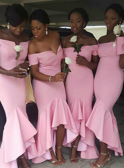 Find And Buy The Perfect Pink Mermaid Satin Hi Lo Off the Shoulder Bridesmaid Dress