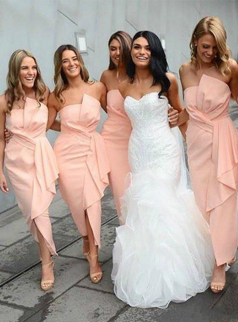 Get An On-Trend A-Line Pink Satin Strapless Pleats Ankle Length Bridesmaid Dress 2020