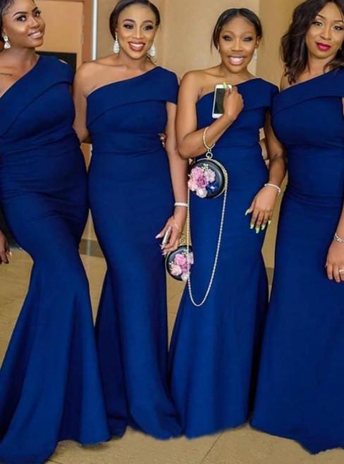 Get a Prom-Ready Look Royal Blue Satin One Shoulder Mermaid Bridesmaid Dresses 2020