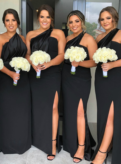 Looking For Gorgeous Black Mermaid Satin One Shoulder Pleats Bridesmaid Dress 2020