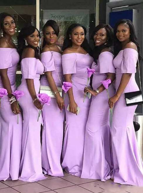 Shop Long Lavender Mermaid Short Sleeve Satin Off the Shoulder Bridesmaid Dress