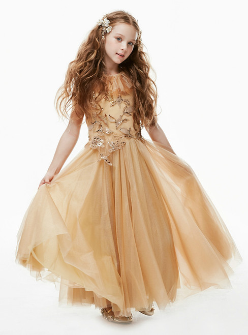 In Stock:Ship in 48 Hours Gold Tulle Sequins Appliques Ankle Length Flower Girl Dress 2020