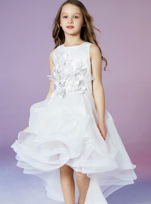 In Stock:Ship in 48 Hours White Tulle Hi Lo Appliques Sweet Flower Girl Dress