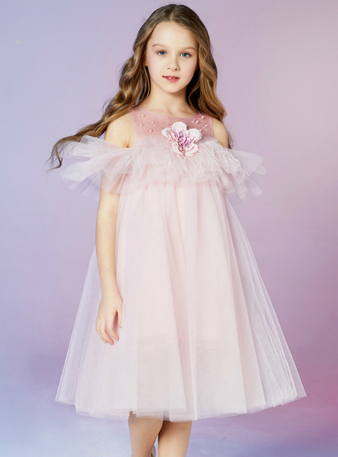 In Stock:Ship in 48 Hours Fashion Pink Tulle Appliques Flower Girl Dress 2020