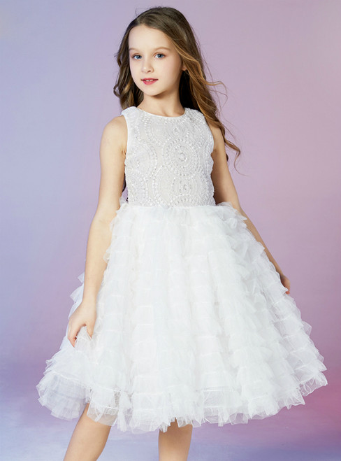 In Stock:Ship in 48 Hours White Tulle Sequins Tiers Flower Girl Dress 2020
