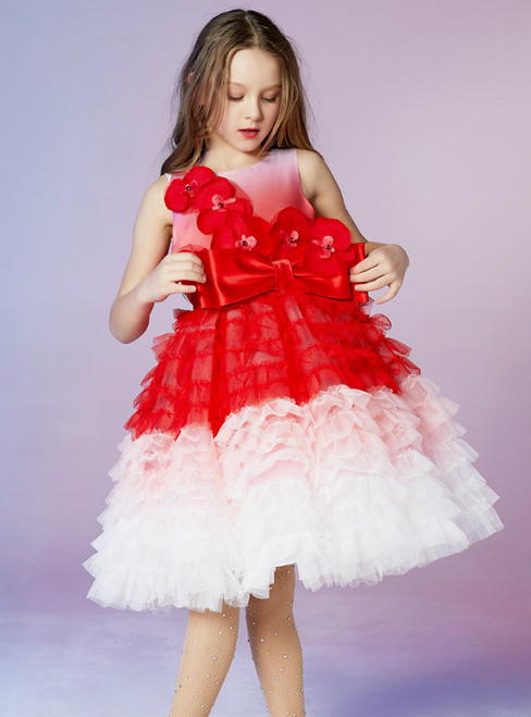 In Stock:Ship in 48 Hours Pink And Red Tulle Tiers Appliques Flower Girl Dress 2020